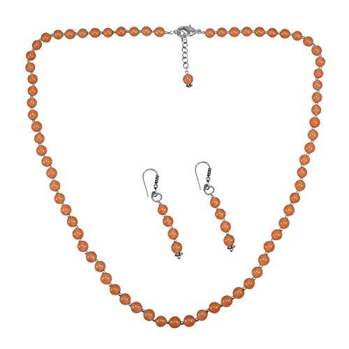 Fabricante de joyería Hecho a Mano de 6 mm Cuentas de Cuarzo Naranja, Chapado en Plata 925, Collar con Pendientes Colgantes Jaipur Rajasthan India