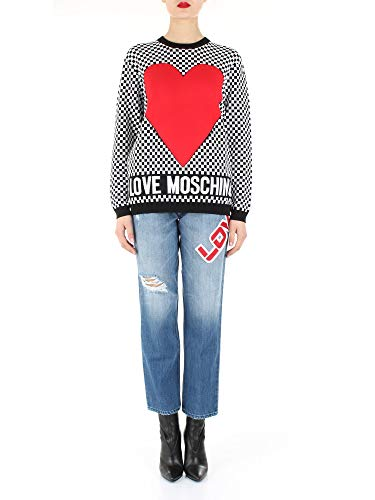 Love Moschino Camiseta con logotipo de corazón para mujer, W S 07G,...