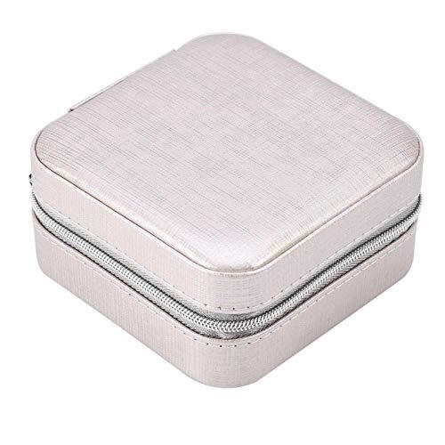 Ftory Caja Solamente -6 Tipos Mini joyero PU Cremallera Pendientes de Viaje Collar Caja de Almacenamiento de Anillo Ataúd(Reticulado-Gris Plata)