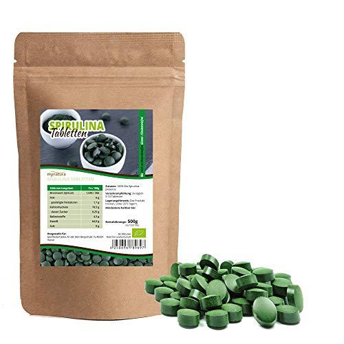 Mynatura Pastillas de espirulina orgánicas, 500 g, presslingas, algas, proteínas de huevo, minerales, 100% vegano, producto natural, sin gluten, sin colesterol, DE-ÖKO-044 (500 g)