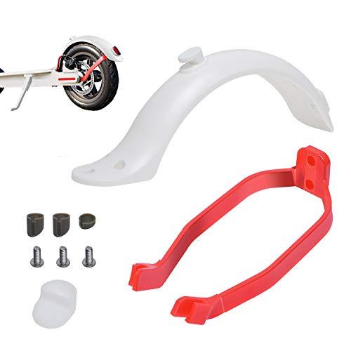 Poweka Guardabarros Trasero para Xiao-mi M365 / M365 Pro Scooter Eléctrico con Soporte de Guardabarros (Blanco Rojo)