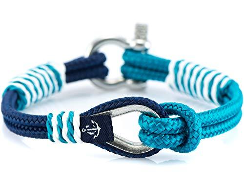 CONSTANTIN NAUTICS SAIL WITH US Maritimes Armband aus Segeltau, handgemacht, für Damen und Herren, mit Edelstahl Schäkel-Verschluss 3mm CNB #726 16 cm