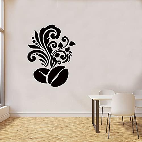 Grano de café con estampado floral Etiqueta de la pared de la cocina Cafetería Diseño de interiores Arte Mural Decoración para el hogar Vinilo Tatuajes de pared Póster A1 58x43cm