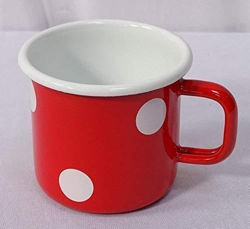 linoows Emaille Tasse, Henkelbecher, Henkeltopf, Kaffeetasse Tupfen Rot Weiß 8 cm