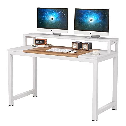 Tribesigns Escritorio de ordenador, moderno diseño simple, mesa de estudio para ordenador portátil, mesa de estudio con estante para monitor, estación de trabajo industrial de madera y metal