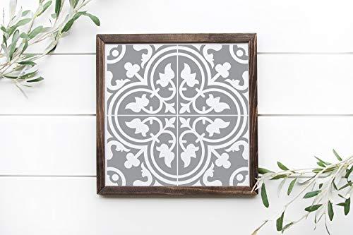 Ced454sy - Cartel de madera enmarcado con 2 baldosas de cemento de imitación y azulejos de color gris y blanco de 12 x 12 cm