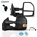 ECCPP Tow Mirrors Towing Mirrors fit for 2015-2019 F150 Pickup Truck with Left Right Side Power Adjusted Heated Turn Signal Puddle Light with Black Housing with The Conversion Plug