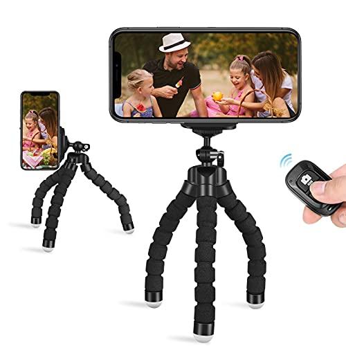 Trípode móvil Flexible Mini Trípode Soporte para teléfono Portátil Trípode con Bluetooth Remoto +Teléfono Clip Inteligente Pare iPhone/Galaxy/Honor y Otros iOS/Android/Cámara Deportiva GoPro