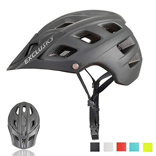 Exclusky Casco Bici Montagna Caschi Ciclismo per Mountain Bike Unisex Taglia 56-61cm (grigio)