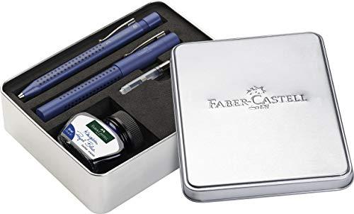 Faber-Castell 201506 - Penna stilografica Grip 2011, pennino M, inchiostro e convertitore, colore: Blu