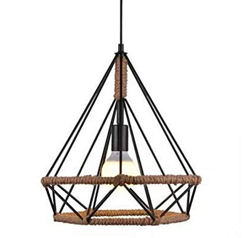 Lámpara de cuerda de cáñamo/lámpara de arte de hierro/lámpara de araña/araña de jaula de pájaros/bar lámpara de restaurante/lámpara de araña retro creativa de triángulo (38cm)