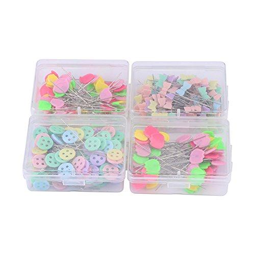 300 Piezas Alfileres Decorativos de Colores con Cabeza Plana para Costura 5cm con una Caja (tipo2)