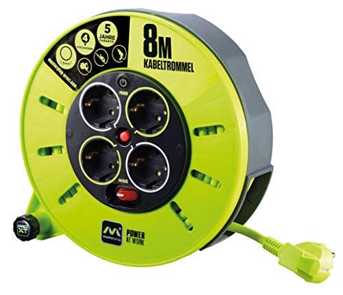 Masterplug CMG08164SL-PX Pro-XT Kabeltrommel Verlängerungskabel mit 4 Steckdosen, Wickelkurbel, Thermoschutz und Netzschalter, 8 Meter gut sichtbares Kabel, 8m