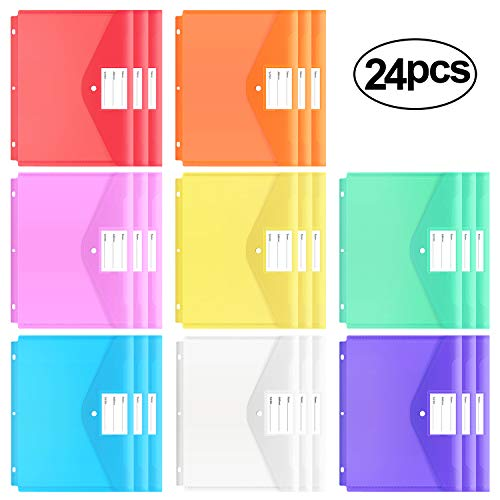 EOOUT 24pcs Binder Pocket, Poly Binder Envelope Folder for 3 Ring Binder, Letter Size/ A4, Snap Button Pouch with Label for School, Home and Office