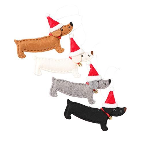 VOSAREA - Colgante de árbol de Navidad colgante de perro con adorno de árbol de Navidad para colgar, decoración de fiesta, suministros 4 unidades ⭐