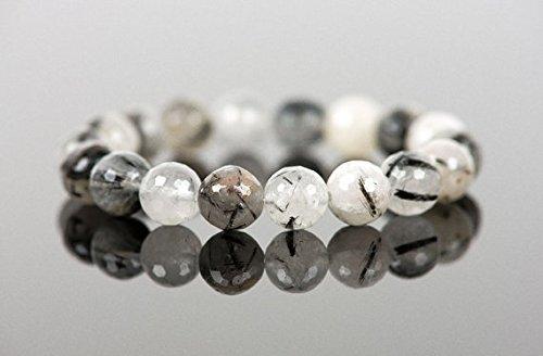 Pulsera de cuarzo turmalinado, pulsera de declaración, moda de mujer, cuentas de cuarzo, pulsera de gema, joyas hechas a mano, joyería de gemas de 8