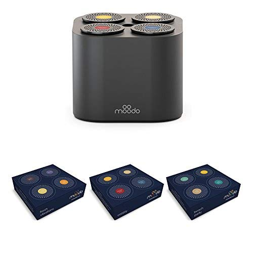 MOODO Smart Home Fragrance Diffuser Bundle with 3 Scent Capsules Sets (Value Pack) - Scent Personalization, Alexa Compatible, Includes 12 Scent Pod Refills (Black Value Pack 3)