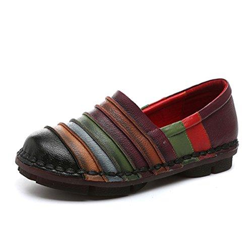 socofy Slip-on Loafer, Damen Regenbogen Leder Casual Loafer Flache Wanderschuhe Fahren Loafers Mokassin Hausschuhe, Schwarz (schwarz), 37 EU