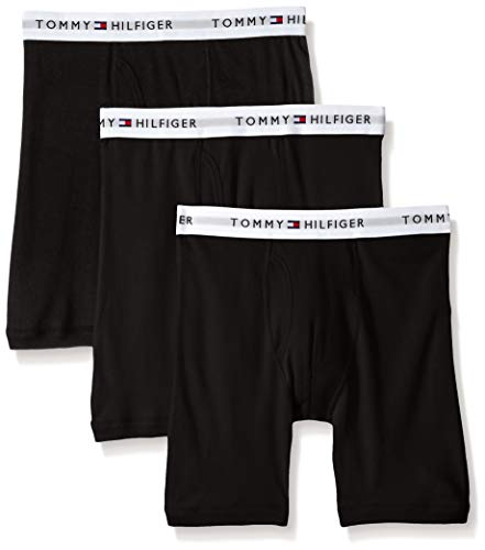 Tommy Hilfiger Men's 3-Pack Cotton Boxer Brief,Black,Medium(32-34)