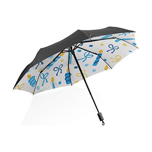 Hombre Paraguas A Prueba de Viento Naranja Marrón Romántico Vela Creativa Portátil Compacto Paraguas Plegable Protección...