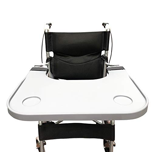 """Wheelchair Tray Table with Cup Holder, Removable Wheelchair Lap Tray, Medical Portable Wheelchair Desk Accessories for Eating, Reading, Resting, Fits Wheelchair Arms of 16"""" - 20"""", with Secure Straps"""