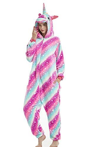Tier Einhorn Pyjamas Cartoon Kostüm Jumpsuit Nachtwäsche Kinder Schlafanzug Erwachsene Unisex Fasching Cosplay Karneval, Star-4(erwachsene), M(Höhe160-170CM)