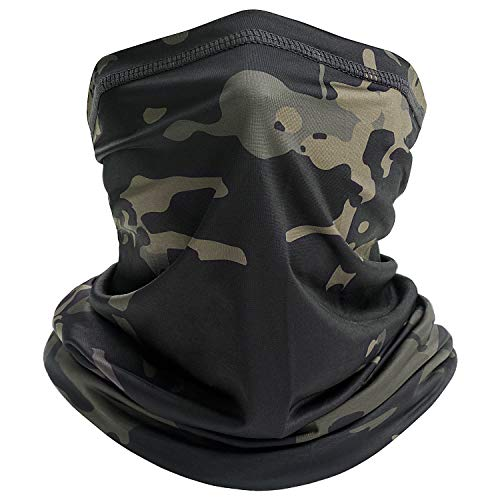 Neck Gaiter Face Mask for Men Women Summer Cooling Breathable Neck Wraps Face Cover Scarf Filter for Hiking Cycling Fishing (Black Camouflage)
