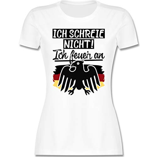 Fußball-Europameisterschaft 2020 - Ich Schreie Nicht! Ich Feuer an - XL - Weiß - Baby - L191 - Tailliertes Tshirt für Damen und Frauen T-Shirt