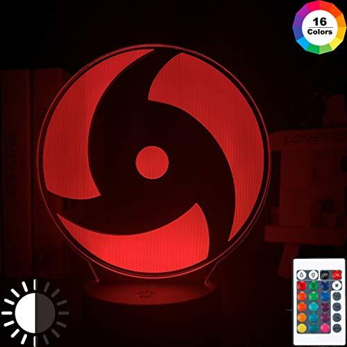 Japanische Anime Naruto Mangekyo Sharingan Naka führte Nachtlicht Arbeitszimmer Dekoration Kinder Kind Geburtstagsgeschenk 3d Illusion Lampe, 16 Farbe mit Fernbedienung