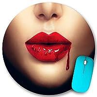 PATINISA ラウンドマウスパッド、滴る血の魅力のハロウィーンのクローズアップとセクシーな吸血鬼の女性の唇、PC ノートパソコン オフィス用 円形 デスクマット、ズされたゲーミングマウスパッド 滑り止め 耐久性が 200mmx200mm