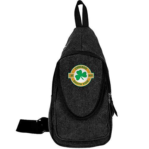 Chicago South Side Irish Canvas Brusttasche für Trekking Outdoor Sport Anti Diebstahl Rucksack für Damen & Herren Moosgrün