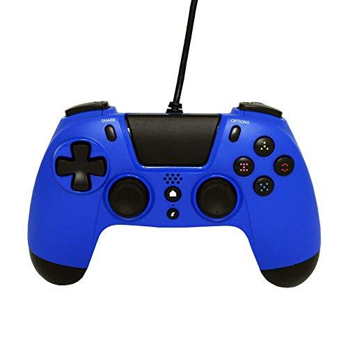 Gioteck VX4 - Manette compacte pour PS4 avec Prise Jack 3,5 mm - USB Manette Filaire pour Playstation4/Pro/Slim/PC - Branchement Casque Gaming - Gamepad - Dual Vibration Shock - Contrôleur Bleu