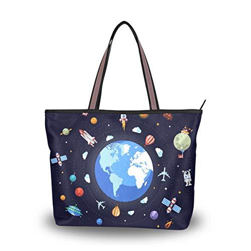 Ahomy Große Strandtasche Earth Space Icons Reisetasche Urlaub Einkaufstasche Handtaschen, Mehrfarbig - multi - Größe: Large