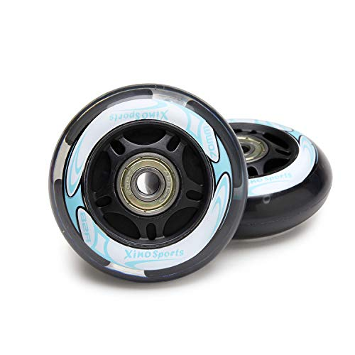 Xino Sports Inline Skates Replacement Wheels with LED Illuminating Lights, Bearings Included, Pack of 2, 70 mm (Aqua)