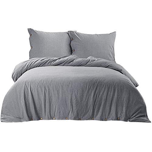 Bedsure Baumwolle Bettwäsche 135x200cm Grau, Bettwäsche Set aus 100% Baumwolle mit Knopfverschluss, extra weich und haltbar mit 1 Kissenbezug 80x80 cm