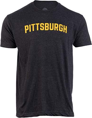 Pittsburgh | Classic Retro Style Pennsylvania PA City Pride Men Women T-Shirt-(Black,XL)