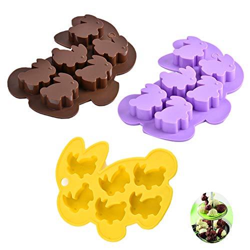 SUNSK Schokoladenformen Ostern Silikonformen Ostern Hase Kuchenform Süßigkeiten Form Seifenformen Gelee Dessert Kerzen Backformen DIY Eiswürfelform 3 Stück