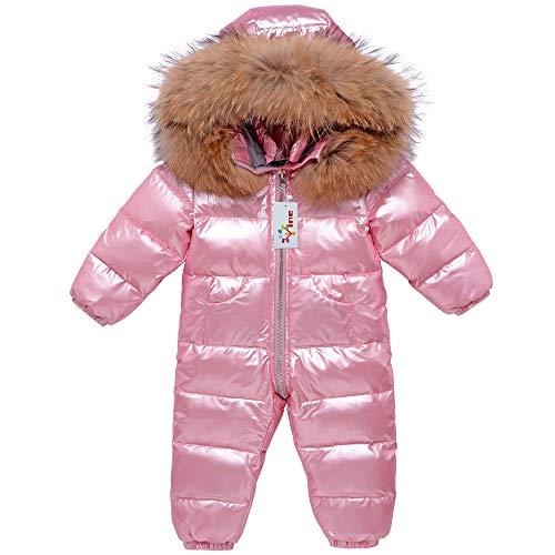 Baby Schneeanzüge Winter Overall Mit Kapuze Daunen-Skianzug Strampler Mädchen Winter Outfits, Rosa 12-18 Monate