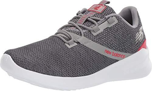 New Balance Men's Cush+ District Run V1 Shoe, Grey/Energy Red, 8 X-Wide US