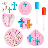 MALLMALL6 7Pcs Cross Angel Wings Silicone Molds Chocolate Fondant Candy Baking Mould for DIY Cake Decoration Mini Craft and Party Supplies for Birthday Baptism Baby Shower Wedding