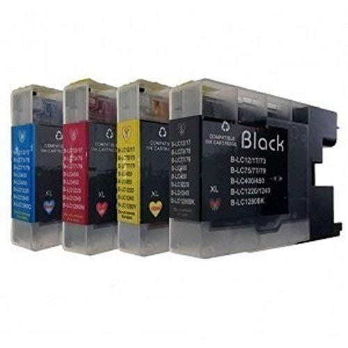 Juego de 4cartuchos de tinta para impresoras Brother, sustituye a LC-1220, LC-1240, LC-1280, DCP-J525W, DCP-J725DW, DCP-J925DW, MFC-J430W, MFC-J625DW, MFC-J825DW, MFC-J5910DW, MFC-J6510DW ,MFC-J6710DW y MFC-J6910DW, selección libre de colores