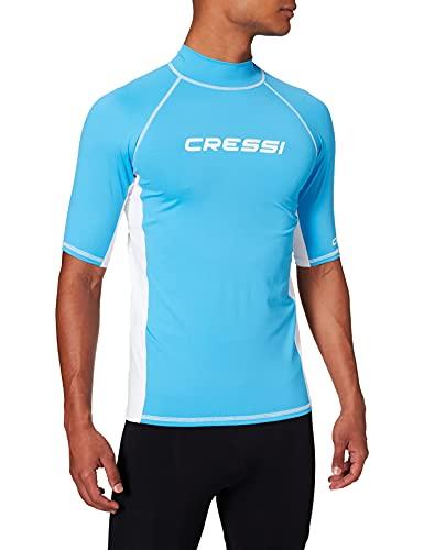 Cressi Herren T-shirt Rash Guard UV Sun Protection (UPF), Hellblau/Weiß, Gr. 56 (Herstellergröße:XXL/6)