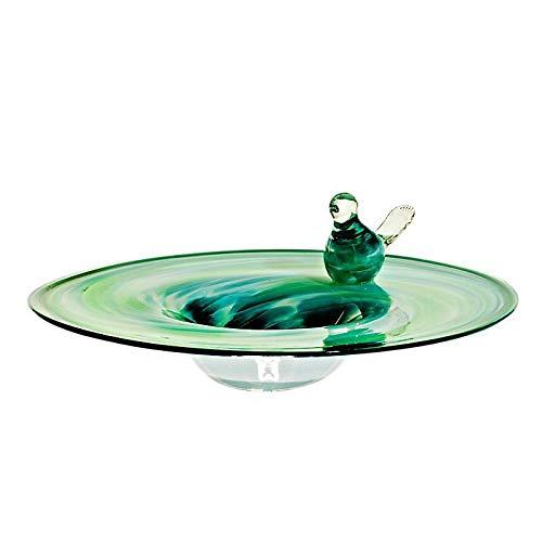 Cristalica Vogeltränke Vogelbad Gartendekoration Glas Mundgeblasen Grün Blau 30 cm inkl. Stab