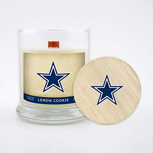 Worthy Promo NFL Dallas Cowboys Gifts 8oz Scented Candle Soy Wax w/Wood Wick and Lid, Lemon Cookie