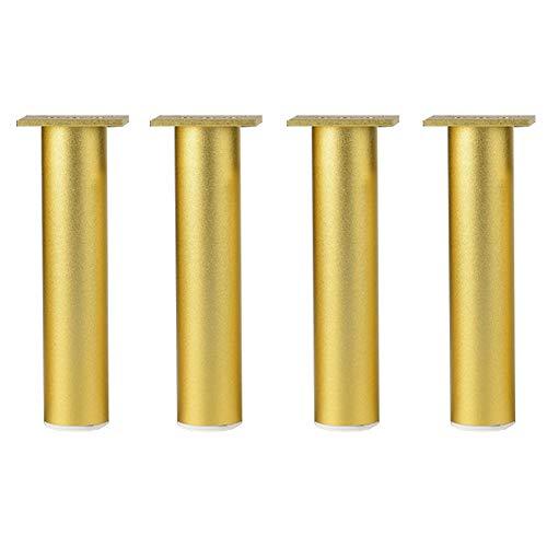 4pcs pie de sofá,Pies de apoyo, Pies ajustables de aleación de aluminio, patas de mesa de café de TV Patas de mesa de metal, parte inferior de PVC antideslizante silencioso (Φ38 mm) (oro35cm)
