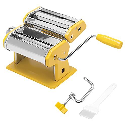 bremermann Nudelmaschine Edelstahl - für Spaghetti, Pasta und Lasagne (7 Stufen), Pastamaschine, Pastamaker (Gelb)
