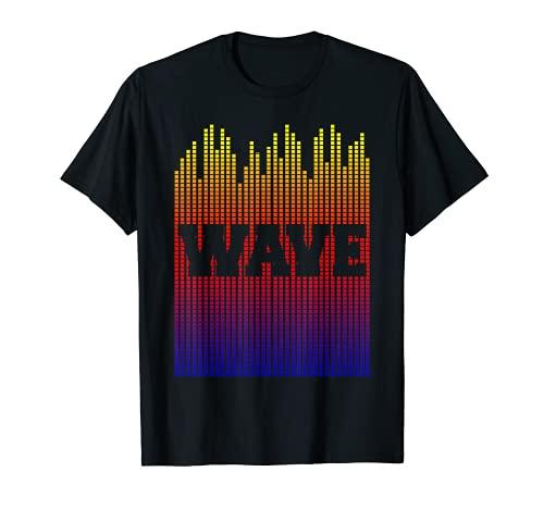 Píxeles de longitud de onda del arte pop para la idea de regalo de los amantes de la música digital Camiseta