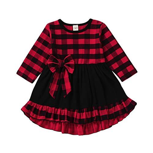 Kobay-Baby Kleinkind Baby Mädchen Langarm Rüschen Plaid Print Bow Kleid Kleid Kind Rüschen Langarm Plaid gedruckt Bow Kleid (6M-4T)