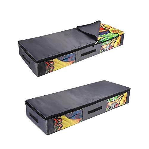 CEMGYIUK - Borsa per riporre sotto il letto, con robusta cerniera trasparente, per piumini, coperte, biancheria da letto, piumini, vestiti, trapunte, cuscini, maglioni, set di 2