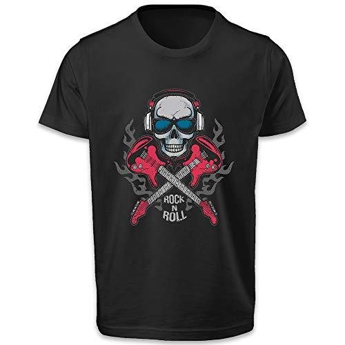 Orilion Camiseta impresa Rock and Roll para hombre, cuello redondo, ajuste regular, manga corta, impresión DTG (directo a la prenda)